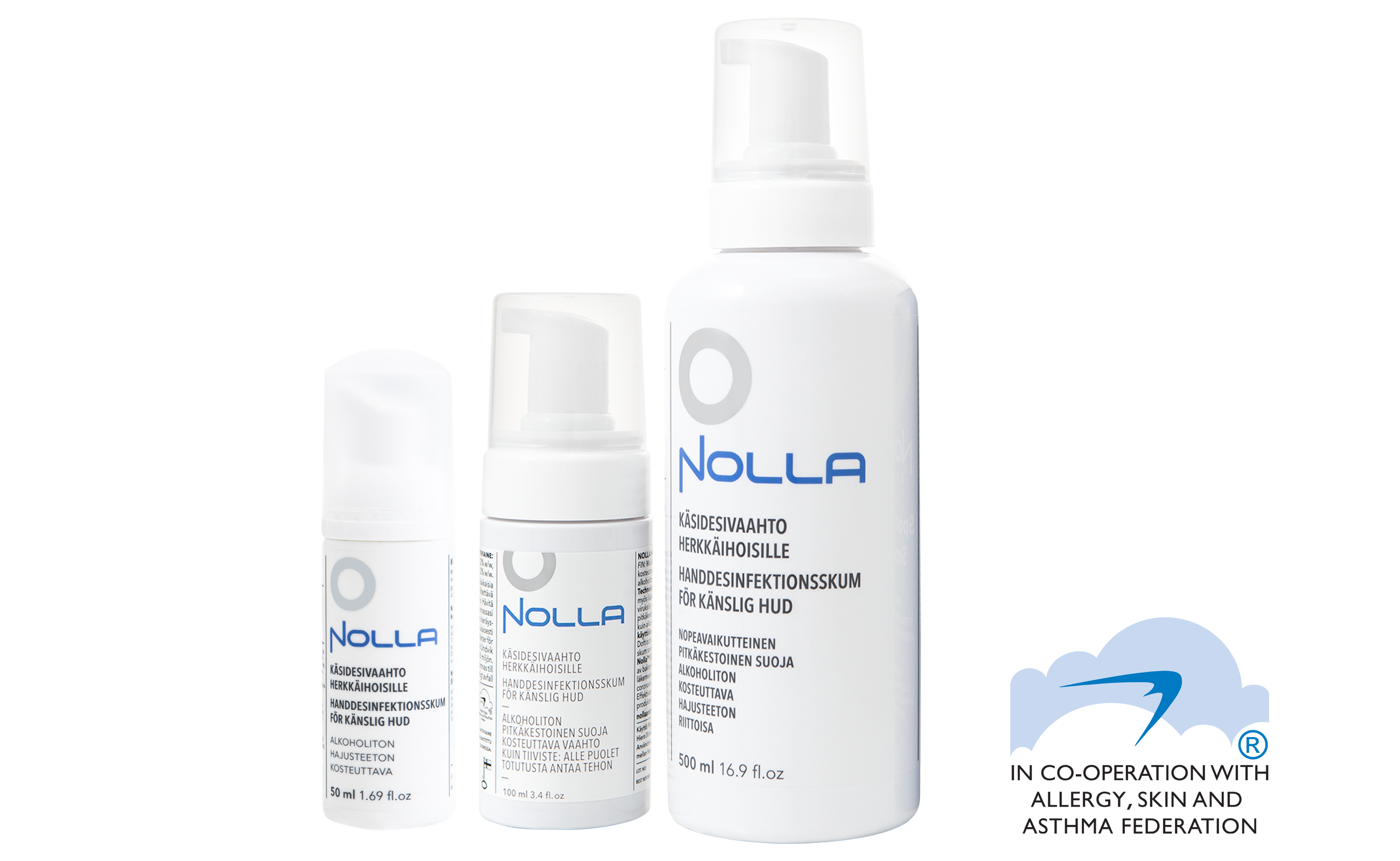 Nolla Antimicrobial Hand Sanitizer foam and Allergy, Skin and Asthma Federation
