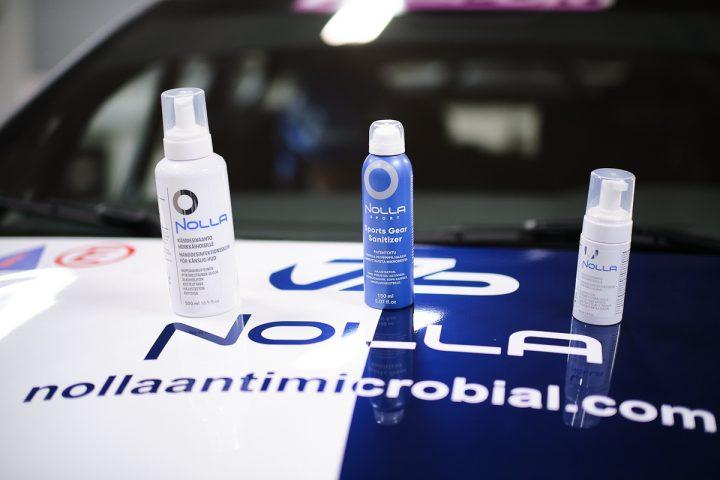 Nolla Antimicrobialin tuotteet Nolla-auton konepellillä